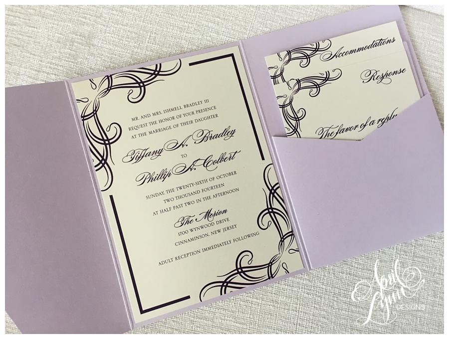 Metallic Purple Pocketfold Philadelphia Custom Wedding Invitations