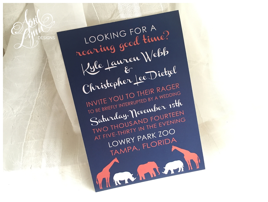 Coral & Navy Tampa Zoo Wedding Invitation by April Lynn Designs