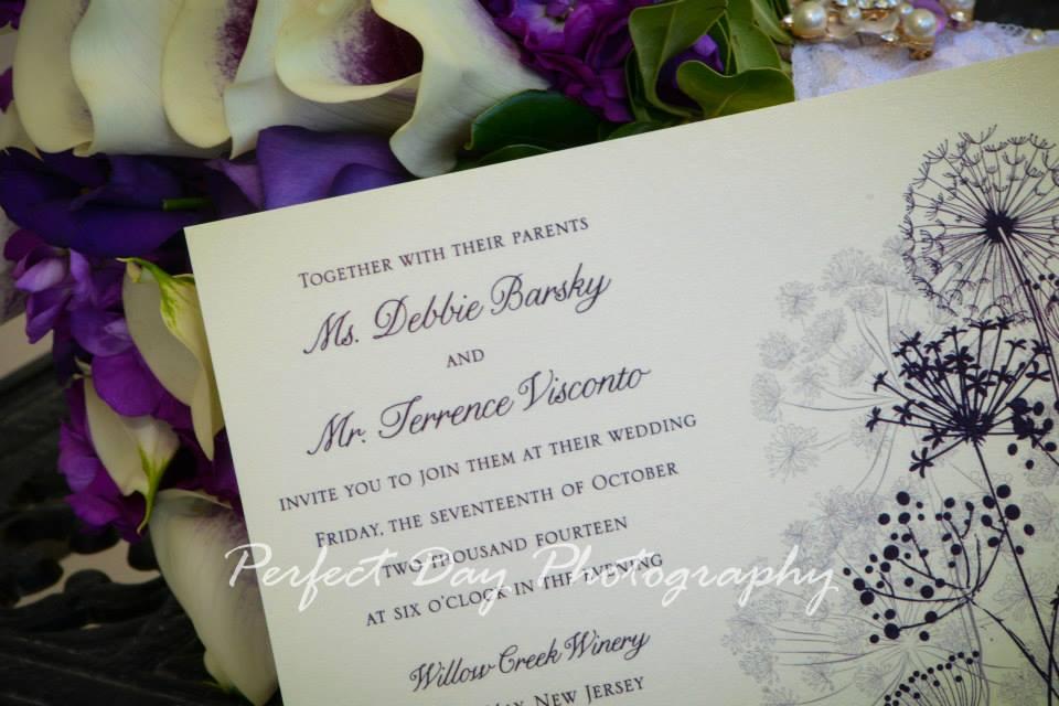 Rustic Dark Purple Custom Wedding Invitations by April Lynn Designs