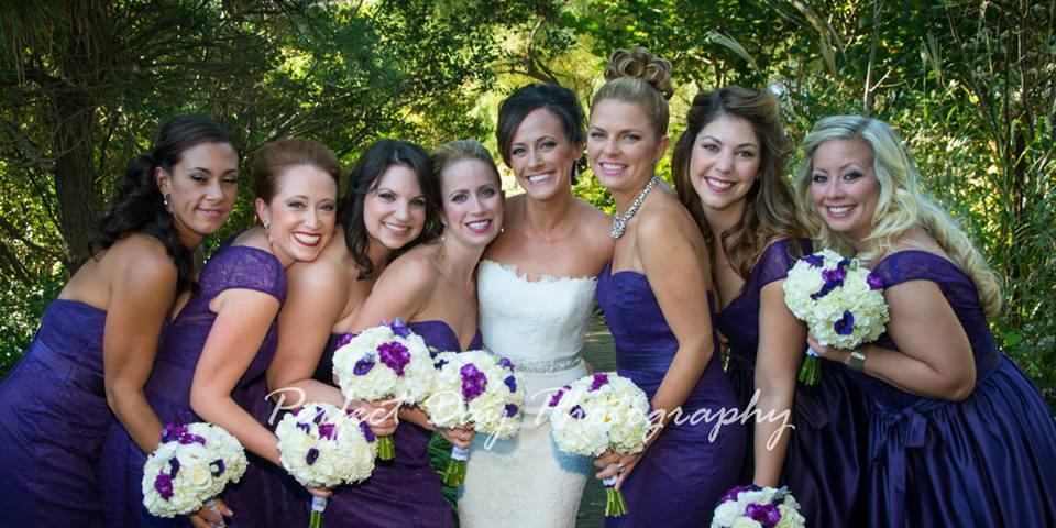 Rustic Beach Wedding | Bride + Bridesmaids in Dark Purple