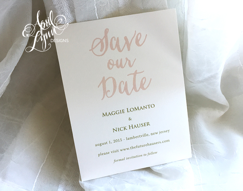 Pale Pink Save the Date by April Lynn Designs