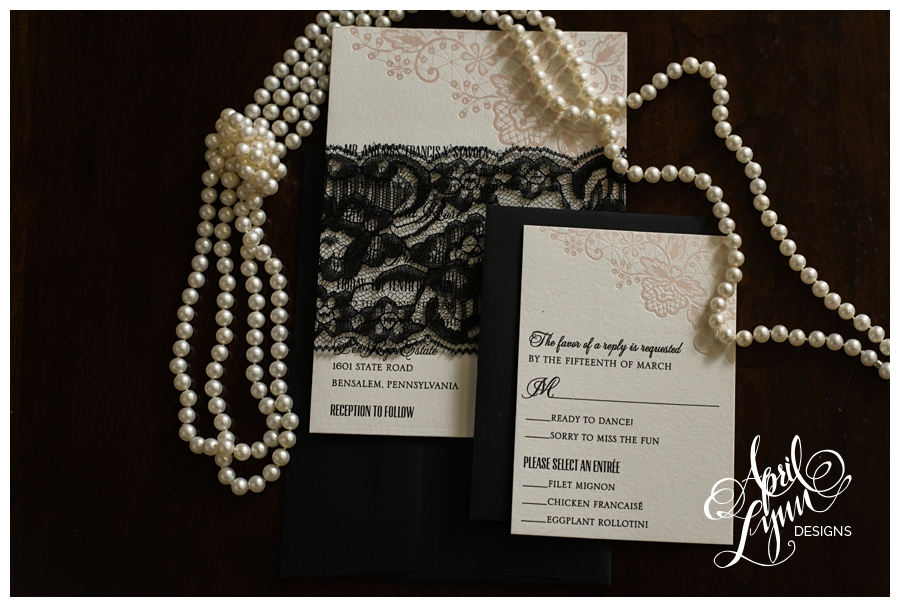 Pink + Black Lace Custom Wedding Invitations by April Lynn Designs