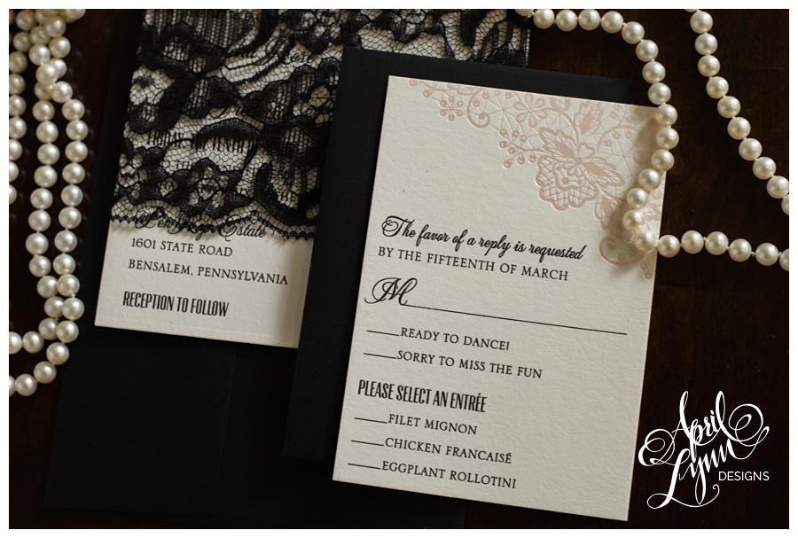 Pink + Black Lace Custom Wedding Invitations by April Lynn Designs