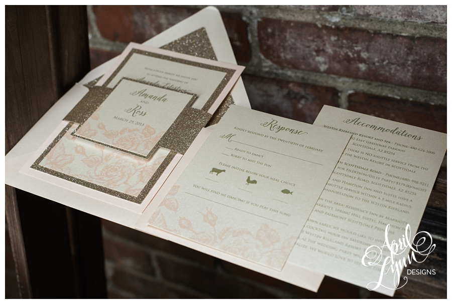 Gold Glitter Blush Wedding Invitation Suite by April Lynn Designs