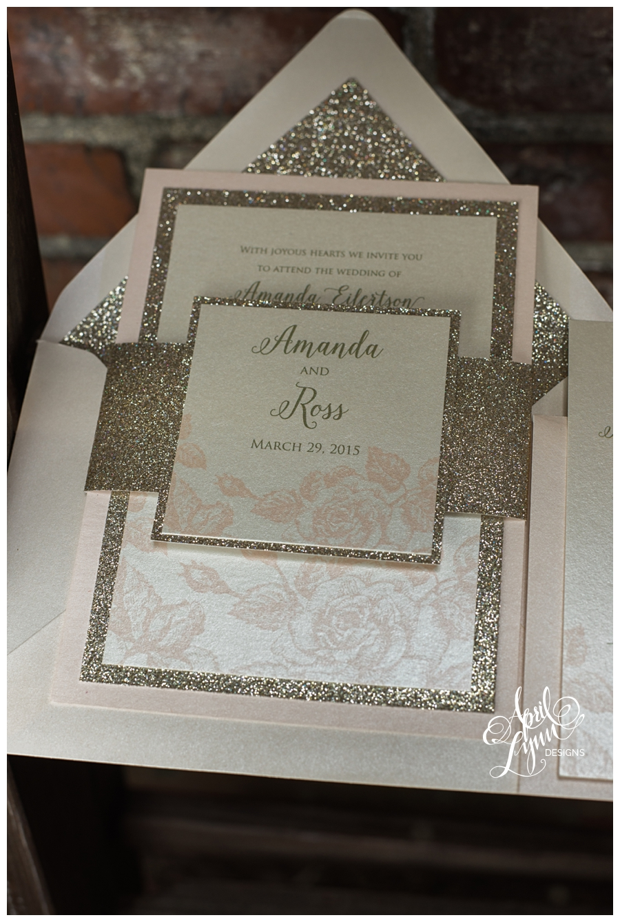 gold glitter blush wedding invitation suite by april lynn designs - Blush Wedding Invitations