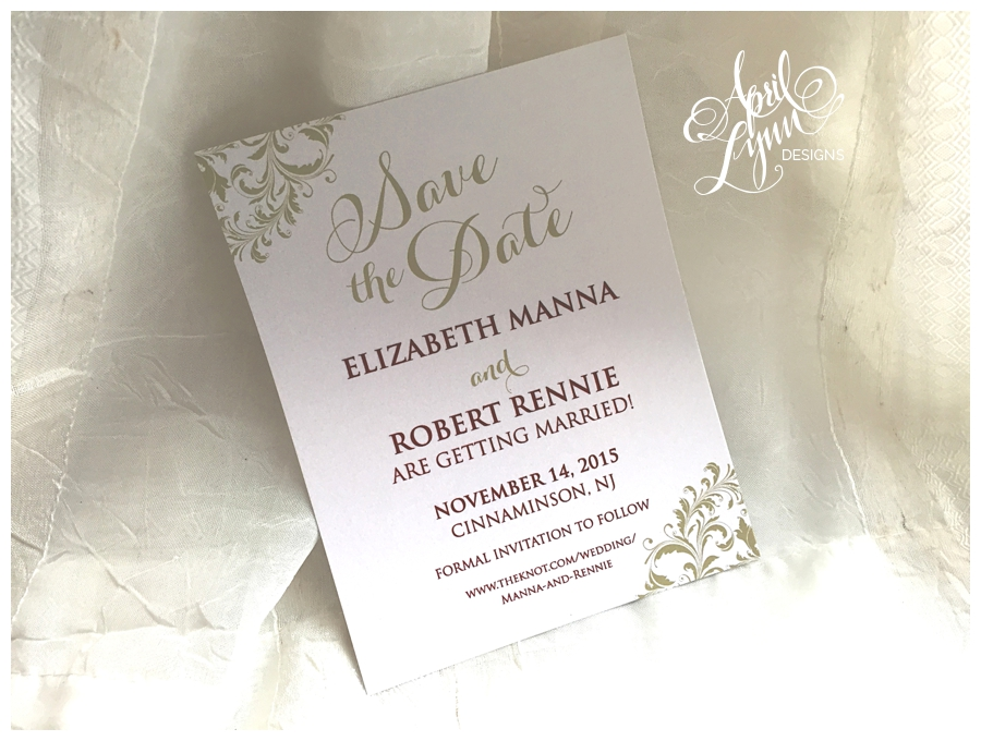 Burgundy + Gold Photo Save the Date by April Lynn Designs
