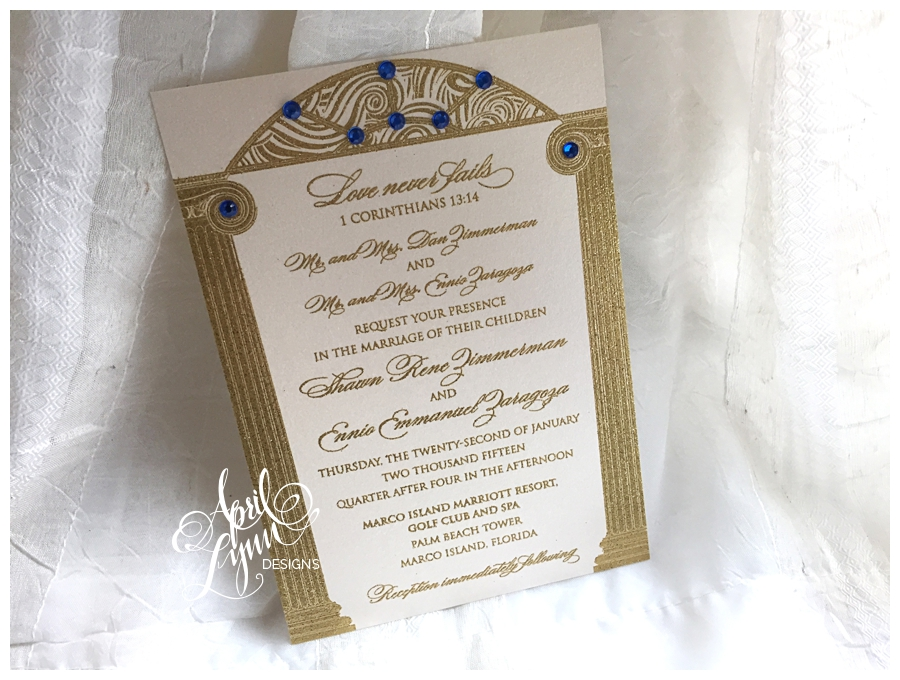 Shawn Rene's and Ennio's Gold Glitter Thermography Wedding Invitation