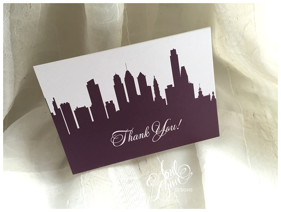 Philadelphia skyline thank you card by April Lynn Designs