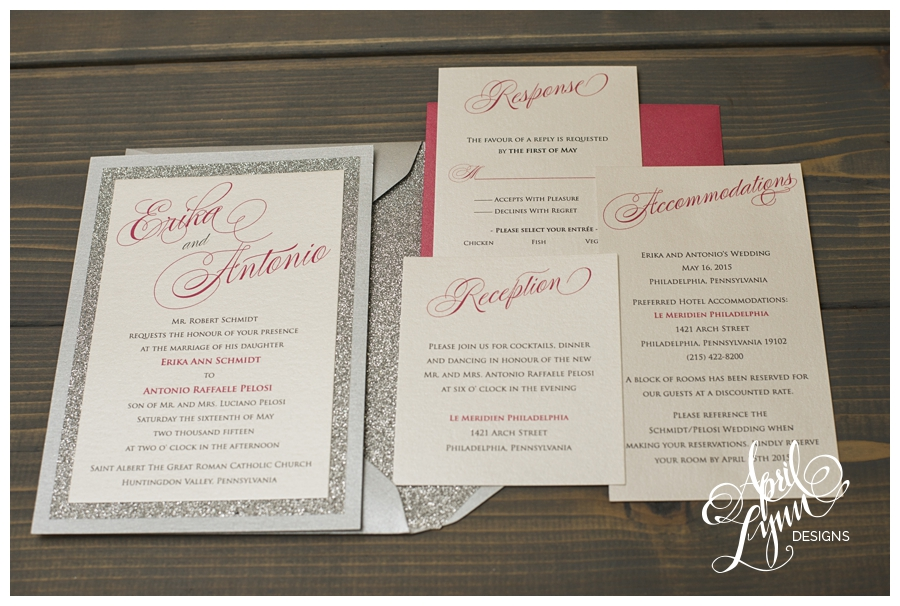 Pink + Silver Glitter Wedding Invitation by April Lynn Designs