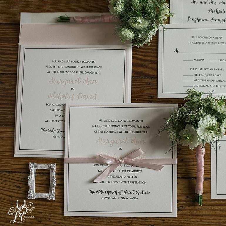 Blush Letterpress Wedding Invitations by April Lynn Designs