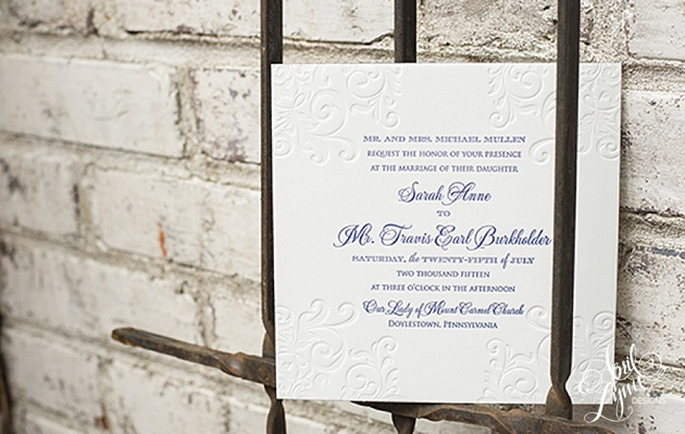 April_Lynn_Designs_Navy_Letterpress_Wedding_Invitation_Elegant_Scroll_Design_Pinecrest_Country_Club