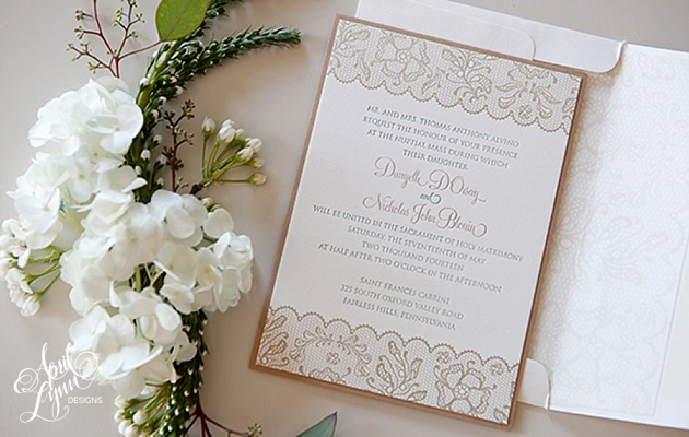 April_Lynn_Designs_Rustic_Lace_Letterpress_Wedding_Invitation_Talamore_Country_Club_Montgomery_County