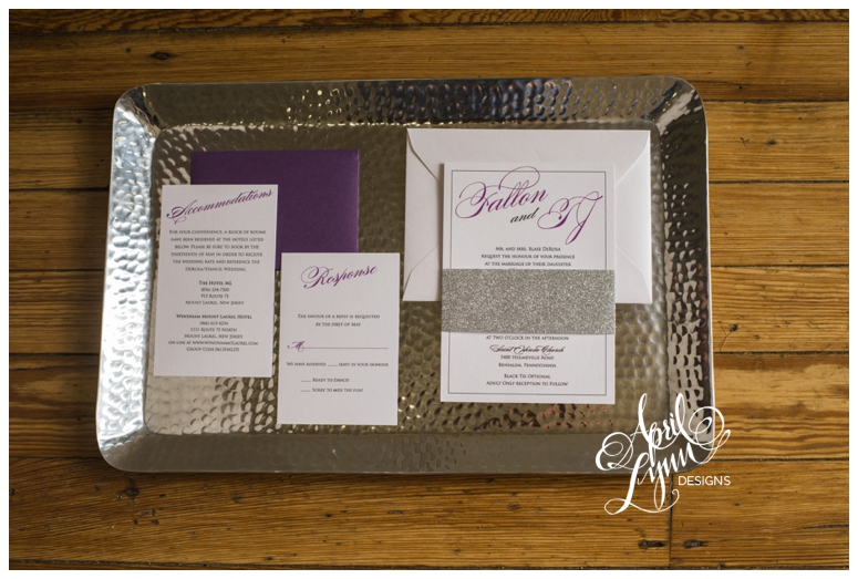 Purple + Silver Glitter Custom Wedding Invitations by April Lynn Designs