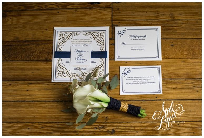 Blue Letterpress + Gold Foil Custom Wedding Invitations by April Lynn Designs