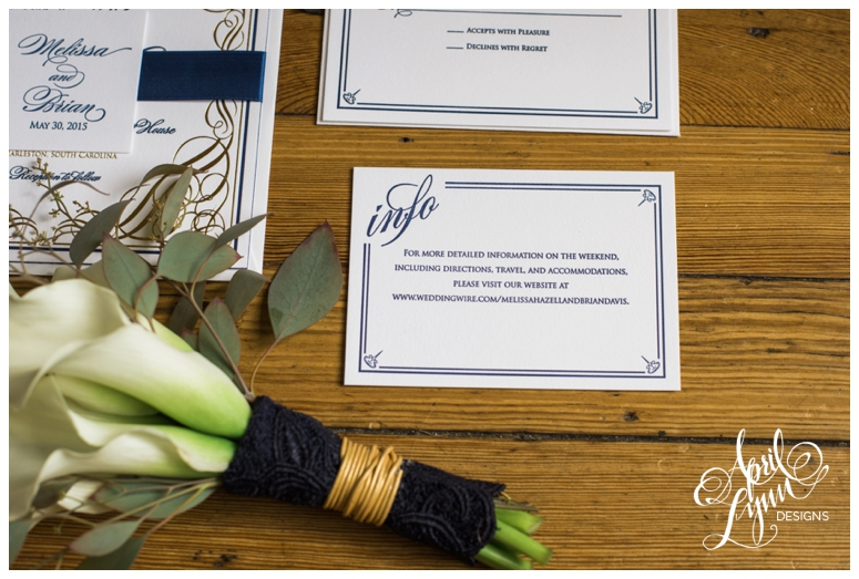 gold foil, letterpress wedding invitation suite by April Lynn Designs