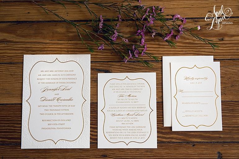 Blind letterpress wedding invitation using gold foil and blush colors by April Lynn Designs