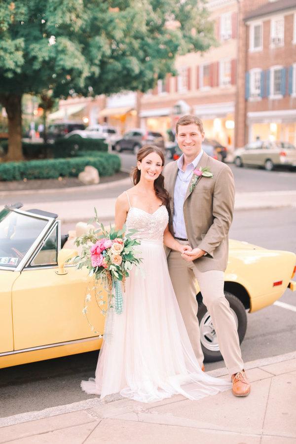 Shabby Chic Styled Shoot Couple's Car Portrait