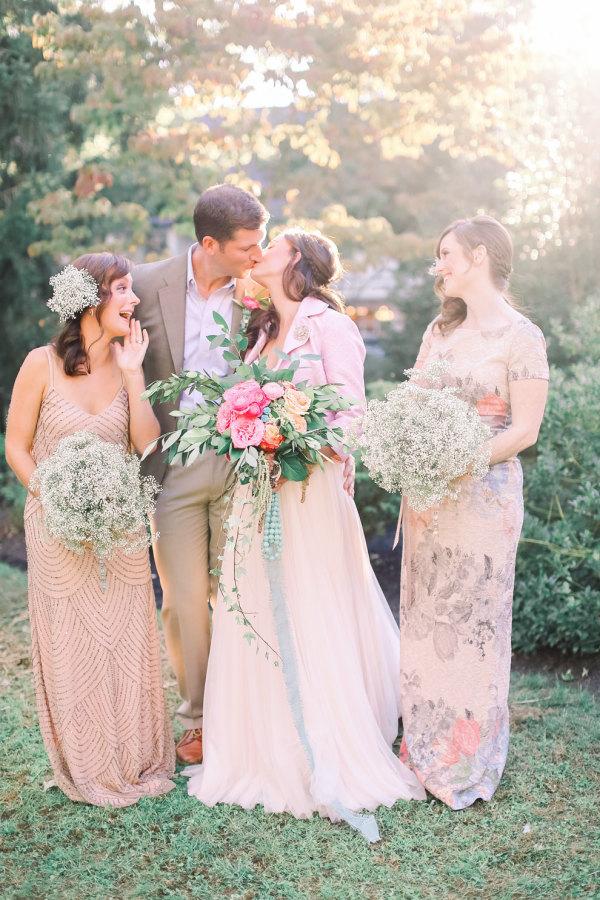 Shabby Chic Styled Shoot Wedding Party Portrait