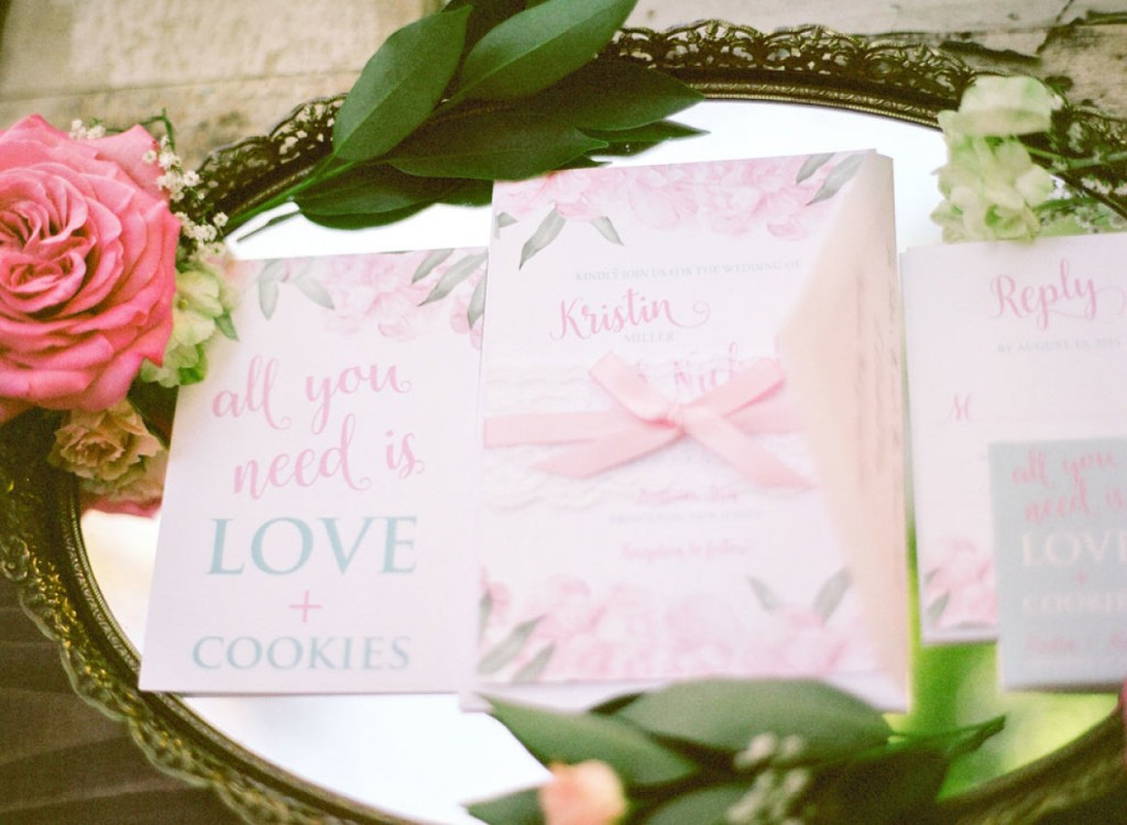 Pink + Blue Shabby Chic Wedding Invitations by April Lynn Designs