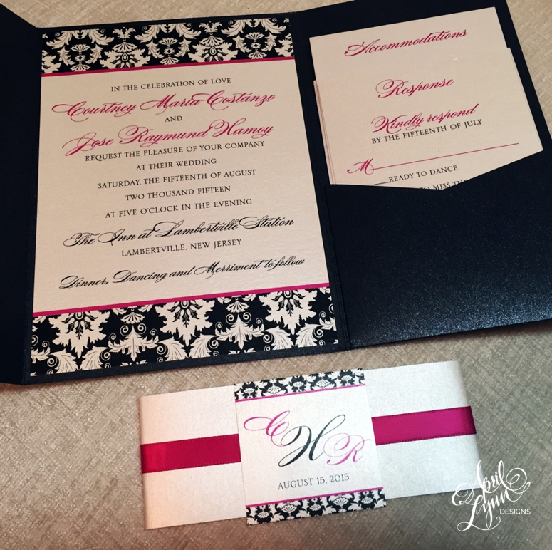 Damask Custom Wedding Invitation Suite by April Lynn Designs