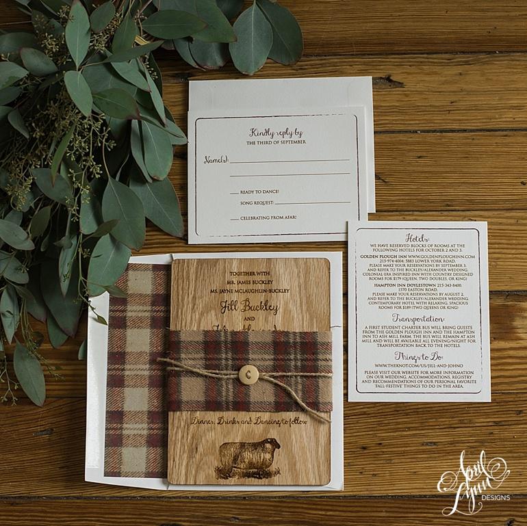 April_Lynn_Designs_Jill_John_Ash_Mill_Farm_New_Hope_Rustic_Farm_Wood_Wedding_Invitation_feature