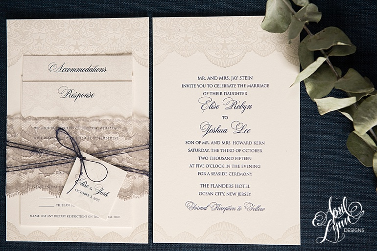 Lace Letterpress Wedding Invitation by April Lynn Designs
