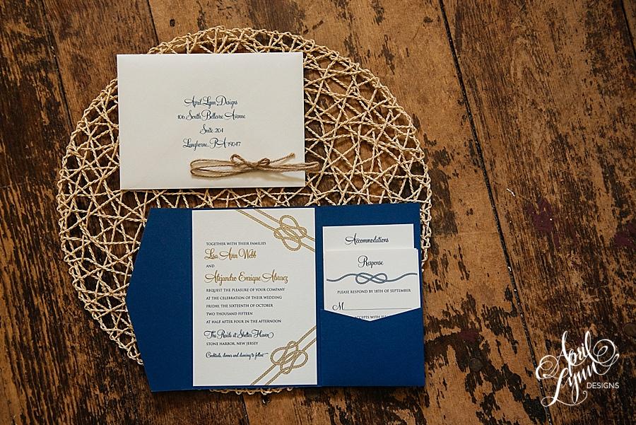 New Wedding Invitation Designs: Lisa + Alejandro's Elegant Nautical Themed Wedding