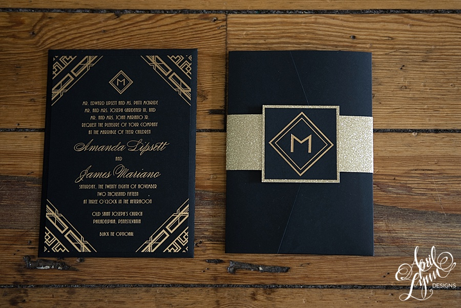 April_Lynn_Designs_Amanda_James_Ballroom_at_the_Ben_Philadelphia_Gold_Foil_Art_Deco_Gatsby_Wedding_Invitation2