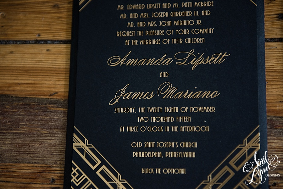 April_Lynn_Designs_Amanda_James_Ballroom_at_the_Ben_Philadelphia_Gold_Foil_Art_Deco_Gatsby_Wedding_Invitation4