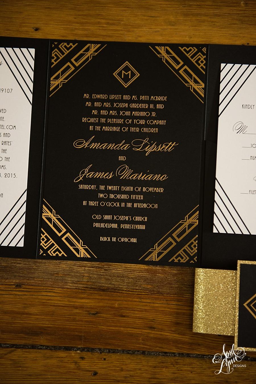 amanda   james u0026 39 s gold foil art deco wedding invitation
