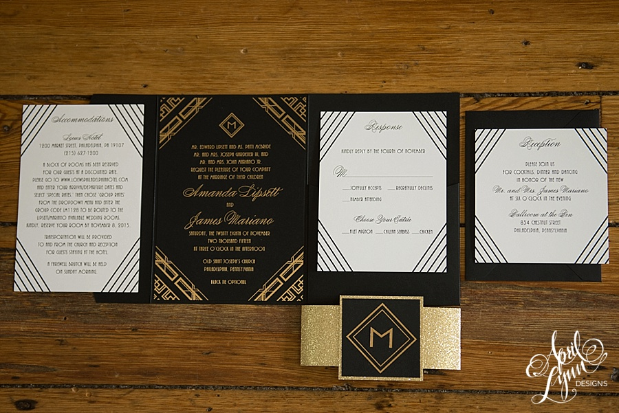 April_Lynn_Designs_Amanda_James_Ballroom_at_the_Ben_Philadelphia_Gold_Foil_Art_Deco_Gatsby_Wedding_Invitation6