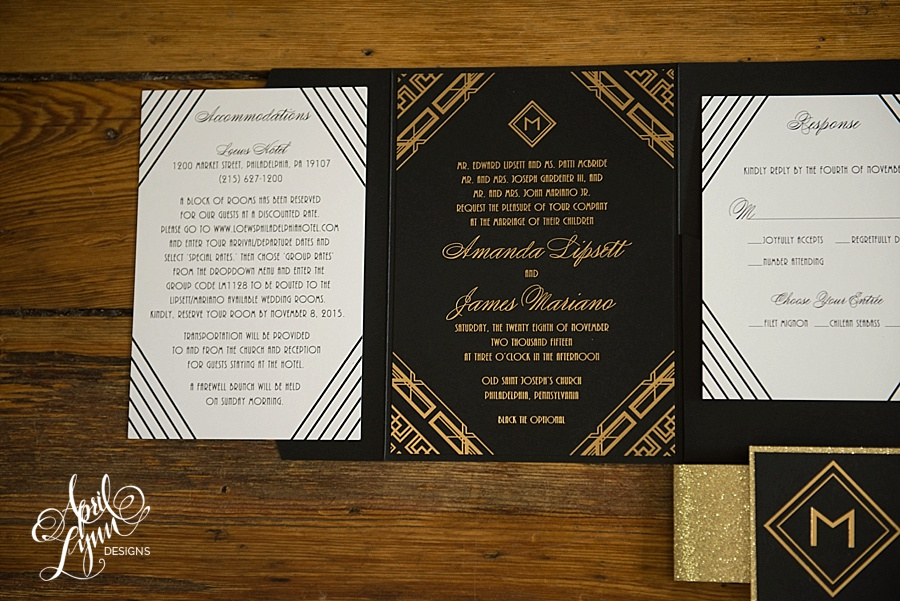 April_Lynn_Designs_Amanda_James_Ballroom_at_the_Ben_Philadelphia_Gold_Foil_Art_Deco_Gatsby_Wedding_Invitation7