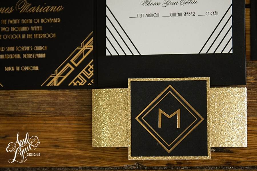 April_Lynn_Designs_Amanda_James_Ballroom_at_the_Ben_Philadelphia_Gold_Foil_Art_Deco_Gatsby_Wedding_Invitation9