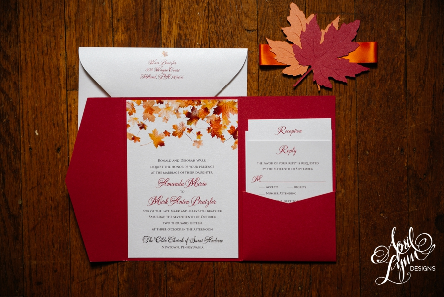 amanda   mark u2019s fall themed wedding invitation suite
