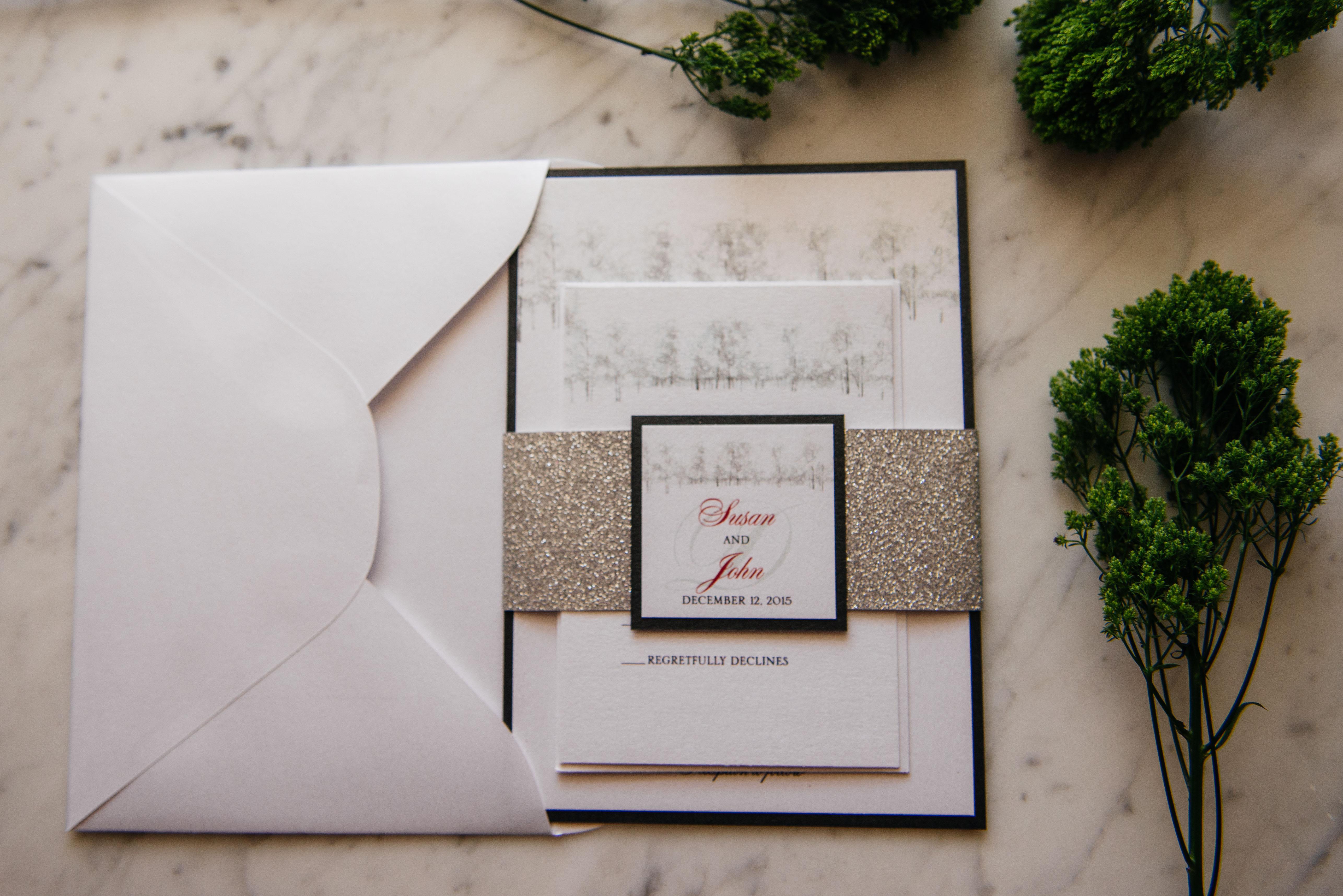 susan   john u2019s winter wonderland wedding invitation suite