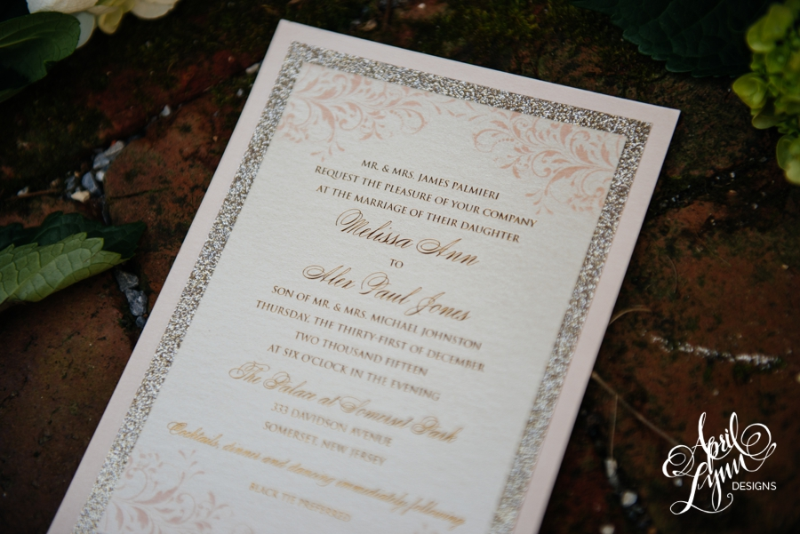 melissa   alex u2019s blush and gold foil new year u2019s eve wedding invitation suite