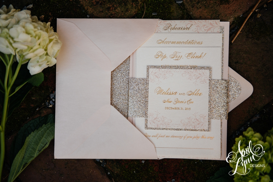 melissa + alex's blush and gold foil new year's eve wedding, Wedding invitations