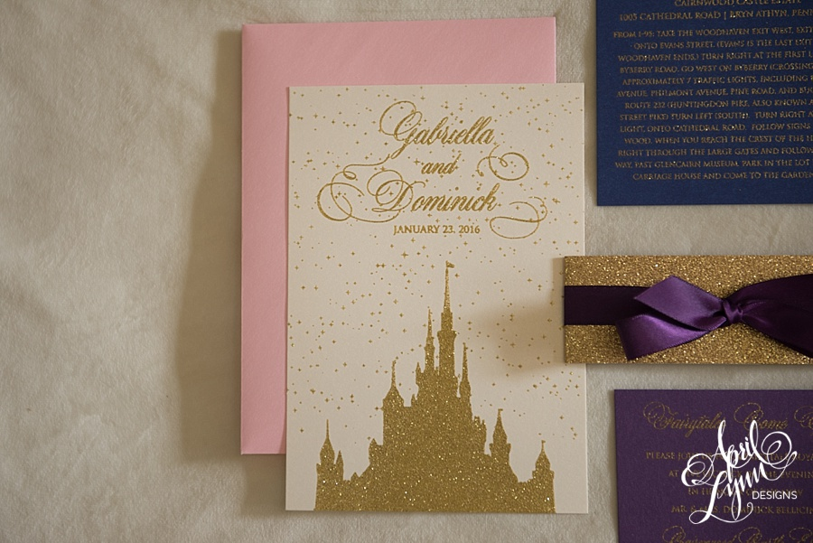 April_Lynn_Designs_Gabriella_Dominick_Cinderella_Wedding_Invitation_Disney_Gold_Glitter_Gold_Foil2