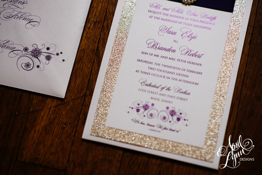 Sara brandon39s wedding invitation suite april lynn for Lavender avenue wedding invitations