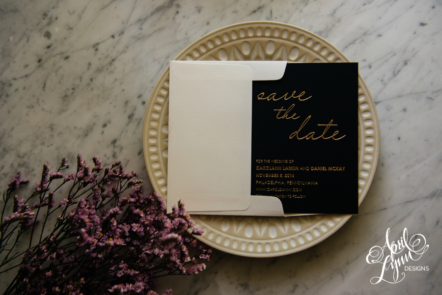 April_Lynn_Designs_Save_the_date_Gold_Foil_Black_Philadelphia_Cescaphe_2