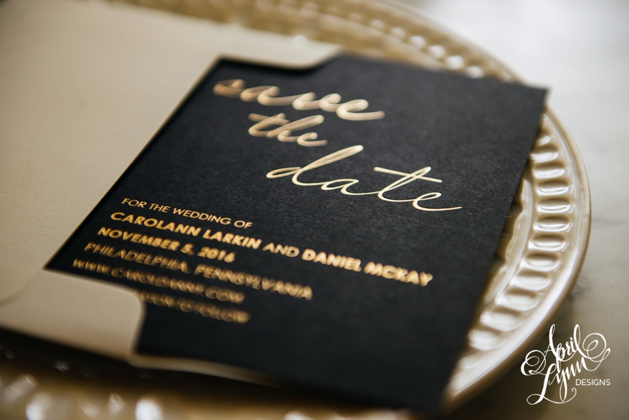 April_Lynn_Designs_Save_the_date_Gold_Foil_Black_Philadelphia_Cescaphe_3