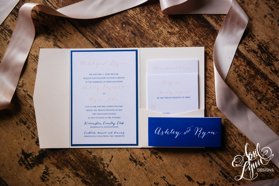 Ashley + Ryan\'s Modern Blush Pocketfold Wedding Invitation Suite ...