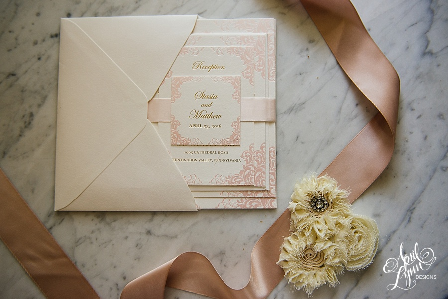 stasia matts gold and pink foil luxe wedding invitation suite - Blush And Gold Wedding Invitations