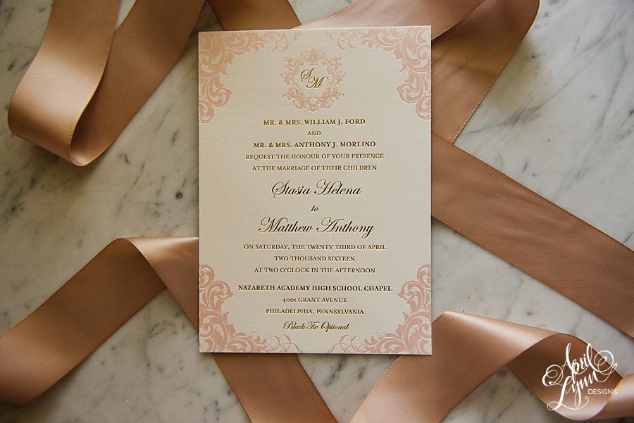 April_Lynn_Designs_Stasia_Matt_Blush_Pink_Gold_Foil_Nazareth_Academy_Cairnwood_Estate_Luxury_Wedding_Invitation_Philadelphia_Regal_Luxe8