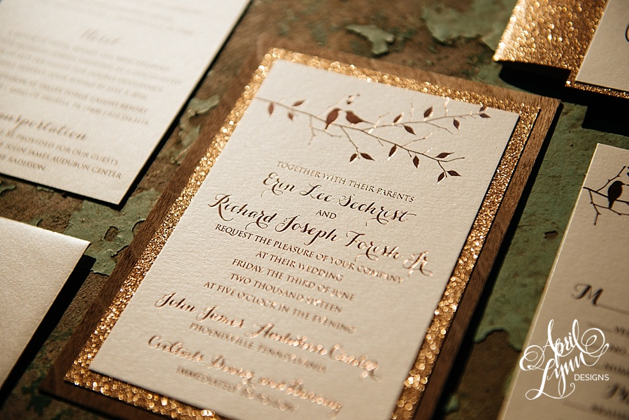 april_lynn_designs_erin_rich_rose_gold_foil_wood_rustic_wedding_invitation_glitter_lovebirds_john_james_audubon_center_wedding_7141