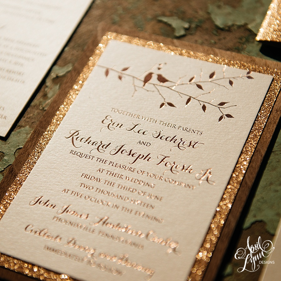 Erin + Rich\'s Rustic Glam Rose Gold Foil and Glitter Wooden ...