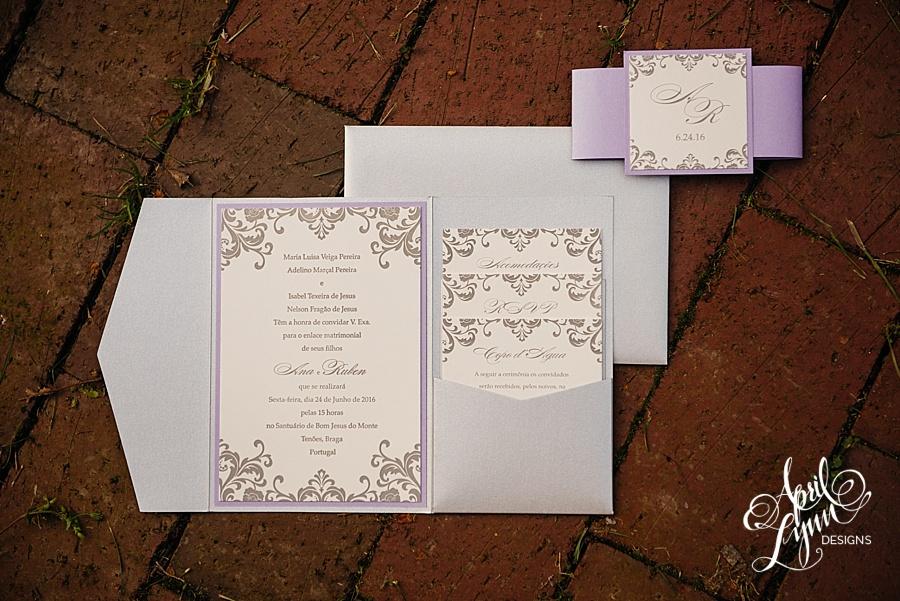 Ana Rubens Letterpress Pocketfold Portuguese Wedding Invitation Suite