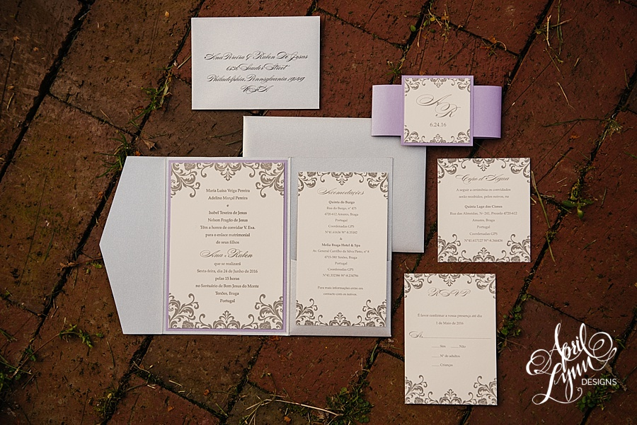 Ana + Ruben\'s Letterpress Pocketfold Portuguese Wedding Invitation ...