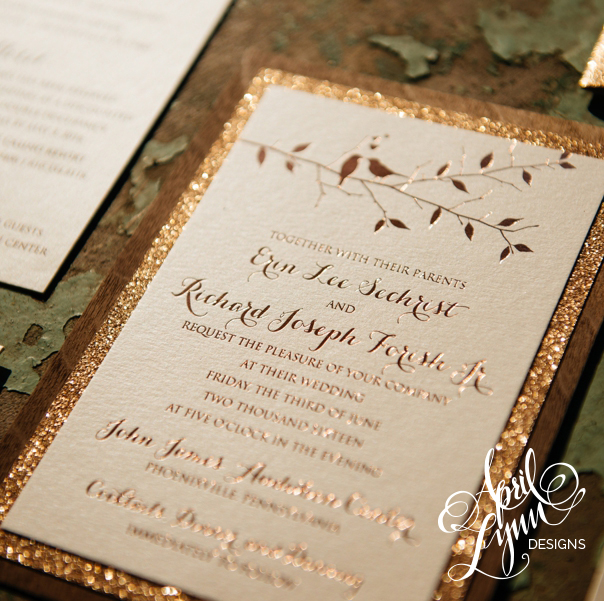 Erin + Rich. Erin + Richu0027s Rustic Glam Rose Gold Foil And Glitter Wooden Wedding  Invitation Suite