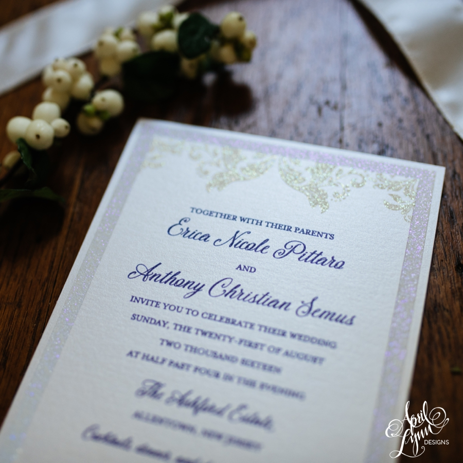 erica anthony s glitter thermography wedding invitation suite